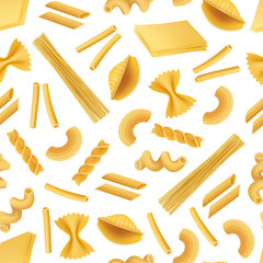 Vector realistic pasta types pattern or background illustration. Pasta background, italian food seamless pattern
