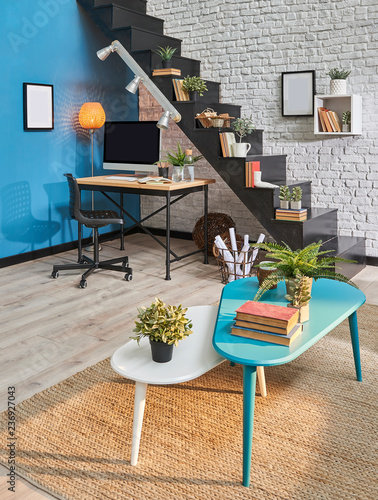 Decorative Living Room Turquoise Middle Table Frame And Black Stairs Concept Interior Style