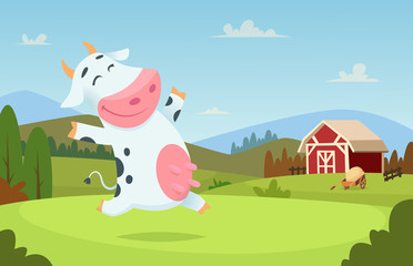 Cow at farm. Field ranch milk animals eating and playing on the grass alpes landscape vector cartoon character background. Illustration of cow on green field