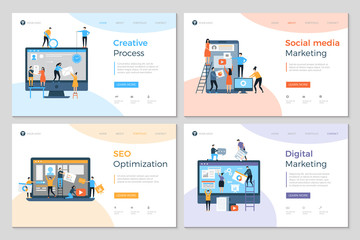 Landing pages design. Business creative website construction advertizing agency mobile pc development designing layout vector template. Social media marketing and seo optimization illustration