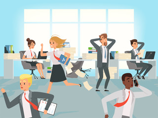 Office deadline. Business workers managers stress running on workplaces at work vector characters. Illustration of office stress, business workplace