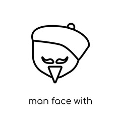 Man face with beret and goatee icon. Trendy modern flat linear v
