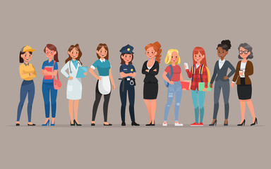 women different profession character vector design