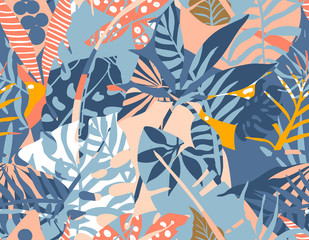 Vector seamless pattern with tropical plants and hand drawn abstract textures.