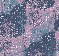 Vector seamless pattern with winter forest, abstract texture