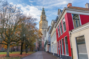 Fototapete - Martini church tower in the late afternoon autumn in Groningen, Netherlands