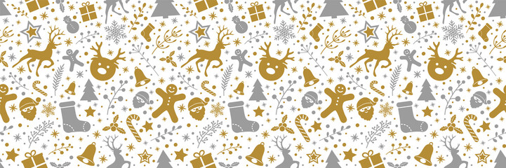 Christmas background with decorations and seamless pattern. Vector.