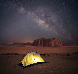 Camping under starry sky with Milky Way