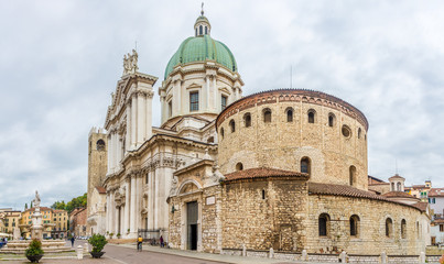 View at the Two cathedrals of Brescia: the Old (at right) and the New (at left) - Italy