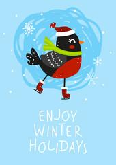 Winter greeting card with cute bullfinch