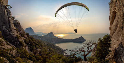 flying on paraplane Wall mural