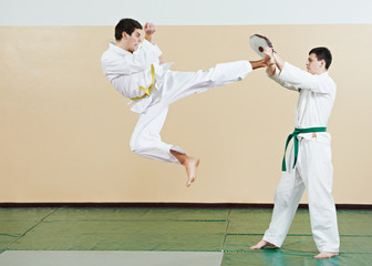 taekwondo exercises. Kick in jump