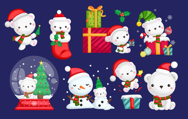 a vector set of many polar bear in Santa costume