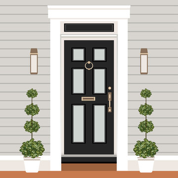 House door front with doorstep and steps, window, lamps, flowers, entry facade building, exterior entrance design illustration vector in flat style