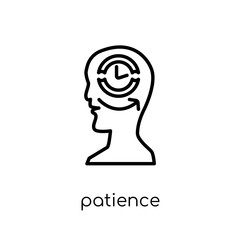 patience icon. Trendy modern flat linear vector patience icon on white background from thin line General collection