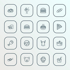 Food icons line style set with burger, donut, pizza slice and other pork  elements. Isolated vector illustration food icons.