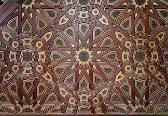 Closeup of arabesque ornaments of old aged decorated minbar of Sultan al Nasir Muhammad ibn Qalawun Mosque, Old Cairo, Egypt
