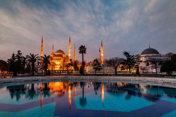 The Sultanahmet Mosque Blue Mosque in the evening, Istanbul, Turkey