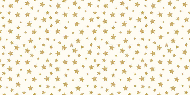 Hand drawn stars on a background - seamless pattern. Vector.