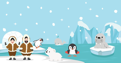Eskimo with Artic animal background
