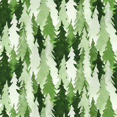 Seamless watercolor pattern with green pine trees. Christmas and New Year decoration