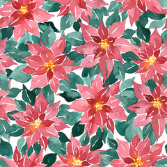 Seamless watercolor Christmas pattern with poinsettia
