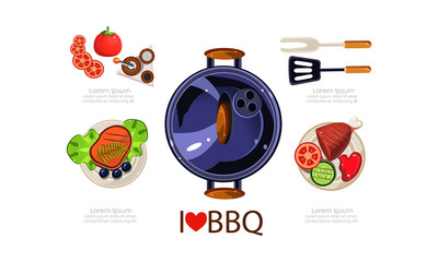 Barbecue icons set, grilling equipment, grilled food menu design elements flat vector Illustration