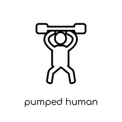 pumped human icon. Trendy modern flat linear vector pumped human icon on white background from thin line Feelings collection