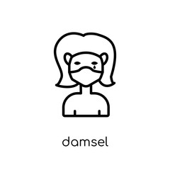 damsel icon. Trendy modern flat linear vector damsel icon on white background from thin line Fairy Tale collection