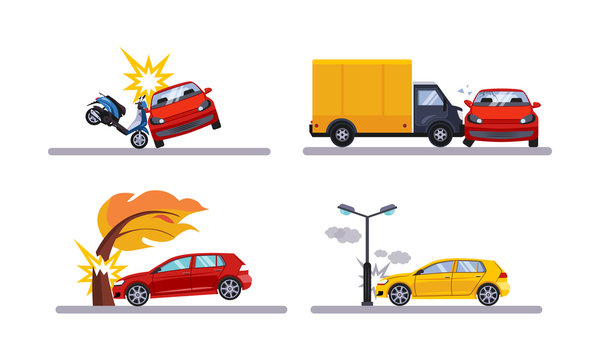 Car accidents, cars involved in a car wreck flat vector Illustration on a white background