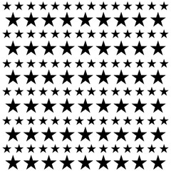 Star seamless pattern. White and black retro background. Chaotic elements. Abstract geometric shape texture. Effect of sky. Design template for wallpaper,wrapping, textile. Vector