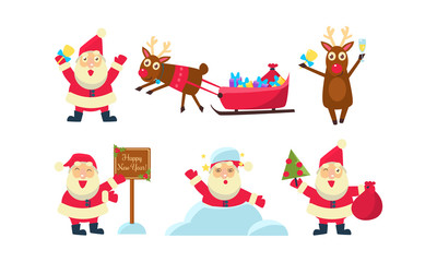 Flat vector set of colorful Christmas icons. Funny Santa Claus and reindeer. Snow, sleigh with gifts