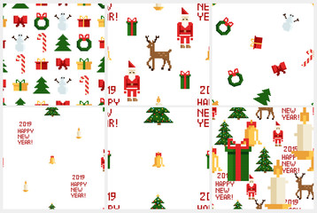 Colorful Pixel Pattern set with Christmas Elements. Atcade games style