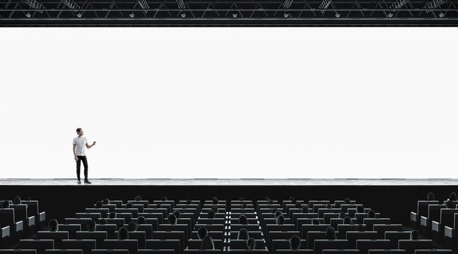 Presentation hall with person on scene auditorium blank screen mockup