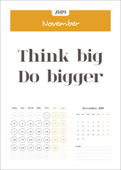 November, Calendar 2019 with Quotes and Notes. Clean Calendar Template, Very easy to use and customize and Ready for print