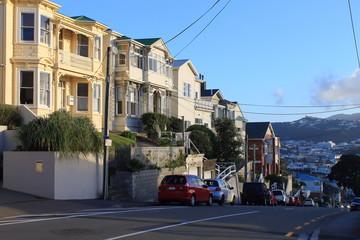 Beautiful street in Wellington, New Zealand