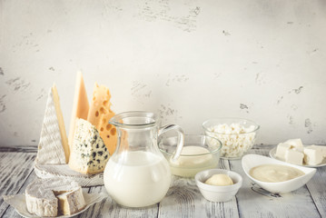 Printed roller blinds Dairy products Assortment of dairy products