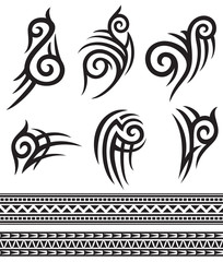 tattoo tribal icons set (design elements)