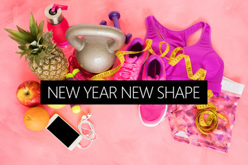 New year new shape text on fitness themed background