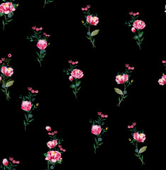 Watercolor floral seamless pattern. Beautifu  hand drawn texture. Romantic background for web pages,