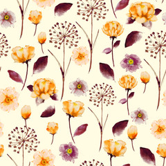 Seamless Bright vintage Watercolor floral pattern, delicate flower wallpaper,