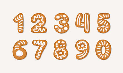 Vector cartoon set of Gingerbread arabic numbers - holidays Christmas ginger cookie isolated on white background. Merry Christmas and Happy New Year cookie numbers cover by icing-sugar, sugar syrop