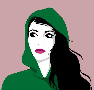 Beautiful woman wearing hoodie