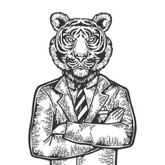 Tiger head businessman engraving vector illustration. Scratch board style imitation. Black and white hand drawn image.