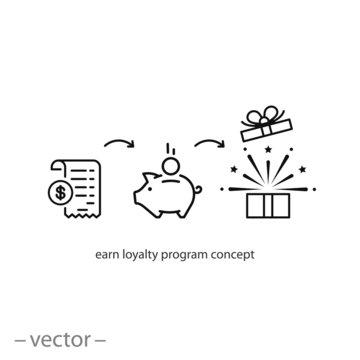 earn loyalty program concept icon vector