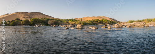 View Of River Nile In Aswan Egypt Showing Cataracts And Mountain