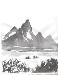 Black white mascara illustration of Chinese mountains and trees.