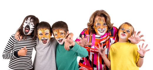 Kids and granny with face-paint