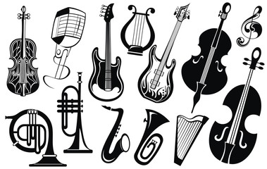 Music icon collection .Musical instruments
