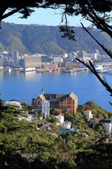 Beautiful View over Church in Wellington, New Zealand